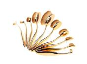 GAMT 10 Pcs Oval Makeup Brush Set Soft Toothbrush Cosmetic Brushes Rose gold