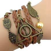 Mintbon 3 in 1 Deathly Death Hallows Logo-Snitch Wings-Hedwig Pendant Handmade Bracelet