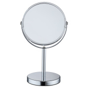 ALHAKIN 1X 5X Magnified 15cm Makeup Mirror Swivel Two Side Table Mirror,Chrome finished