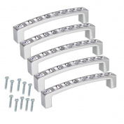 Yusylvia(TM)5 PCS Furniture Handles Stainless Steel Crystal Rhinestone Door Cabinet Drawer Pull Handle for Kitchen Cupboard