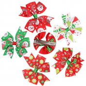 Alonea 5PCS Girl Baby Christmas Ornaments Bowknot Hairpin Headdress