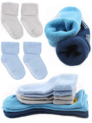 Pro1rise 4 Pairs Baby Boys Non Skid Cuff Socks Thick Cosy Ankle Cotton Footsocks Sneakers With Grips For 12-36 Months Toddler Boys