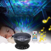 Willcome Upgraded Generation Remote Control LED Projector Ocean Wave Projection Lamp with Built-in Music Speaker and 7 Different Colours for Kid Sleeping Relaxing Night Light