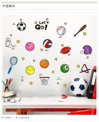 Kids Sports Basketball Football Soccer Baseball Sports Wall Stickers Wall Decals for Kids Baby Boy's Rooms Nursery