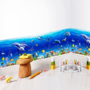 Amaonm 3D Under The Sea World Nature Scenery Removeable art Decals Ocean Animals Sharks, Dolphins, Coral Wall Decals Peel Stick art Stickers for Bathroom Wall Corner Bedroom Sink Living room