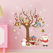 HNXZL Removable Wall Window Art Stickers Vinyl Decals Christmas Decoration Santa Claus