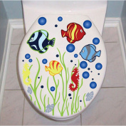 Juicart Fish Toilet Seat Cover Sticker Wall Art Waterproof Removable Paper