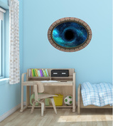 90cm Porthole Outer Space Ship Window View BLACK HOLE #1 OVAL RIVETS Wall Sticker Kids Decal Baby Room Home Art Décor Den Mural Man Cave Graphic LARGE