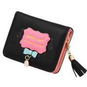 HeySun Ladies Flower Small Wallet Leather Card Holder Coin Purse with Tassels for Girls