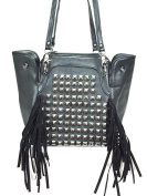 Zzfab Square Studded Tassle Cross Body / Back Pack Black