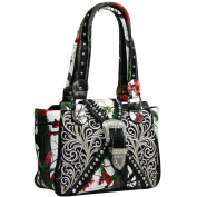 Western Concealed Embroidered Camo Buckle Handbag Purse - Red/Cam