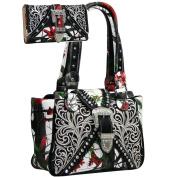 Western Concealed Embroidered Camo Buckle Handbag Purse Wallet Set -Red/Cam