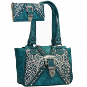 Western Concealed Embroidered Buckle Handbag Purse Wallet Set