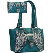 Western Concealed Embroidered Buckle Handbag Purse Wallet Set -Turquoise