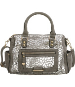 Silver Mosaic Satchel Hand Bag with Crossbody Strap