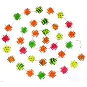 Handcrafted Paper Neon Glitter Flower Garland