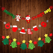 Yunko Merry Christmas Bunting Banner Flag for Christmas Party Home Decorations, L3