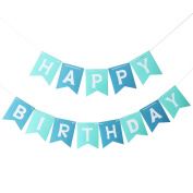 UEETEK Paper Happy Birthday Bunting Banner Garland Flag Party Supplies for Birthday Party Decor