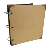 Premium Blank Kraft Expandable Hardcover Scrapbook with Alloy Corners, DIY Photo Album, Wedding Guest Book, Photo Booth