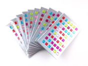yueton 10 Sheets Colourful Assorted Self Adhesive Bling Rhinestone 8mm Square Shape Craft Jewels Sticker Embellishments