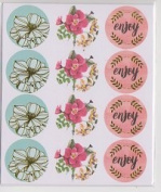 Foil floral Seal Stickers - 2 Sheets Stickers - Scrapbook Cards
