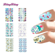 BlingBling Fresh Design Nail Stickers Lot Flower Butterfly Style Nail Art Waterslide Decals For Nails Wraps Fingernail Accessories