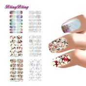 BlingBling 6 sheet Nail Art Tips Water Transfer Sticker Decal Watermark Wraps Manicure Pedicure Decals Flower Marble Design For Nails