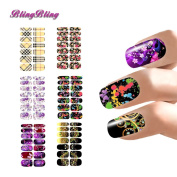 BlingBling Popular Set Water Transfer Decal Stickers Nail Art Watermark Wraps Manicure Decals Flower Abstract Plaid Design For Nails