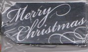 Silver Foil Merry Christmas Package Tags - 12Ct