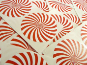 Minilabel 50 Red And White Swirl Spiral Design, Pattern Sticky Labels, 50Mm Circular, Stickers, 2 Inch Round Circle, Selfadhesive
