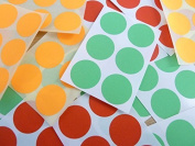 Minilabel Red, Orange And Green 25Mm 1 Inch, Circular Round Dots Circles, Stickers, Sticky Labels
