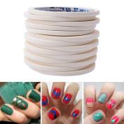 Jocestyle 12Pcs Manicure Nail Art Tips Tape Roll Wrap Strip DIY Decoration Sticker Stencil Decals Accessories