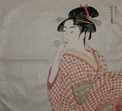 Furoshiki 'Young Woman Blowing a Glass Pipe' by Utamaro Motif Japanese Fabric 48cm