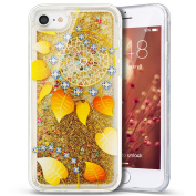 iPhone 7 Case,PHEZEN 3D Creative Luxury Bling Glitter Liquid Case Infused with Glitter Heart Moving Soft TPU Bumper PC Back Hybrid Case For iPhone 7 (2016) 12cm , Gold Leaf