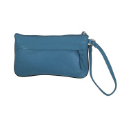 Pielino Women's Genuine Leather Classic Wristlet with Inside Credit Card Slots