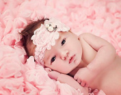 The Fairy Factory Pink Handmade Lace Rosette Flower Headband with Pearl, Rhinestone and Resin Rose Centre - Pink