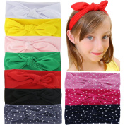 QingHan Baby Girl Elastic Cotton stretch headbands For Teens Girls Solid Dots Stripe Printed Turban Hair Bands