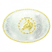Western oval belt buckle with gold horse head