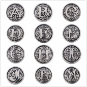 Lovmoment Random Mixed 12MM Mini Size 26 Alphabets Style Snap Button Chunks Jewellery Charms