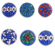 Lovmoment Bright Blue Mixed Flower Style Snap Button Jewellery Charms
