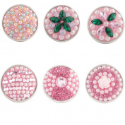 Lovmoment Pink Mixed Flower Style Beads Snap Button Jewellery Charms