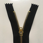 WKXFJJWZC 20pcs 7 Inch (18cm ) Style Brass Metal Closed End Zipper On Black Nylon Coil Zippers