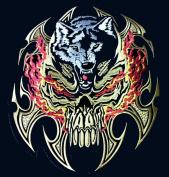 skull blade wolf large back jacket vest patch 29cm biker patch