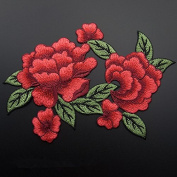 1pcs Red Peony Flower Patches Embroidered Sew On Patch Badge Appliques For Diy Clothes Dresses Applique Fabric Wedding Dress Cloth Accessory 13x21cm