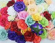 CellElection 36 Pcs 3D Simulation Real Fabric DIY Flower Girls' Rose Flowers Hair Clips Wedding Ornament Accessory Appliques
