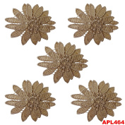Handcrafted Woven 5 Pcs Appliques Floral Design Dupatta Decorative Sewing Fabric Beige Indian Costume Dress Patch
