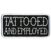 4pc TATTOOED AND EMPLOYED Funny MC New QUALITY MOTORCYCLE Biker Vest Patch