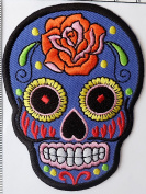 Blue Skull Iron on Patch Embroidered Sewing for T-shirt, Hat, Jean ,Jacket, Backpacks, Clothing, Blue1