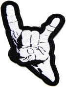 Satan Devil Horns Hand Sign Heavy Metal Satan Fingure Punk Rock Hippie Retro Jacket Patch Iron on Embroidered