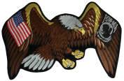 AMERICAN EAGLE WITH US AND POW/MIA FLAGS PATCH LARGE - Multi-Coloured - Veteran Owned Business